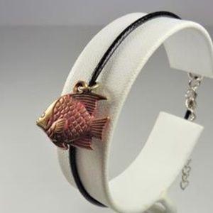 Jewelry - NAUTICAL RED & GOLD ANGELFISH BLACK LTHR BRACELET